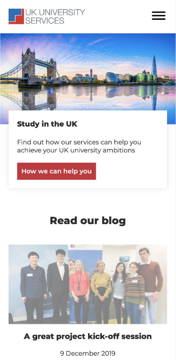 Mobile: UK University Services, University Matching Service