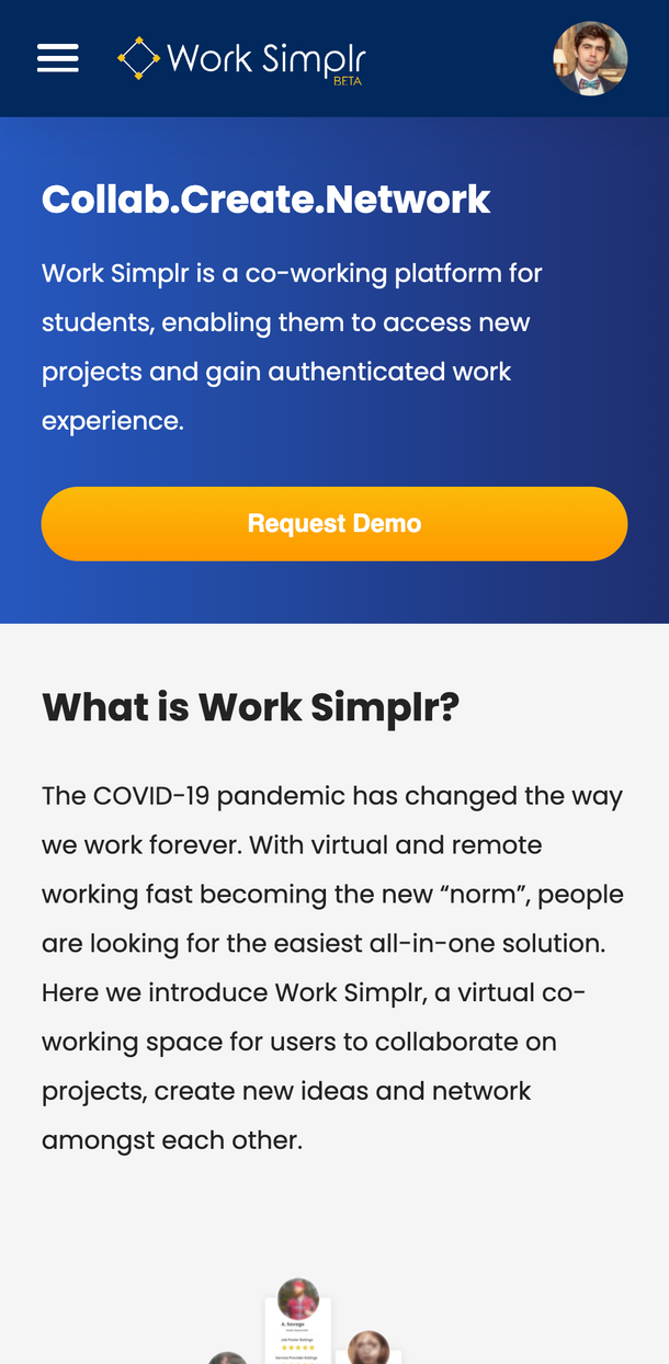 Mobile: Work Simplr, Portal Development